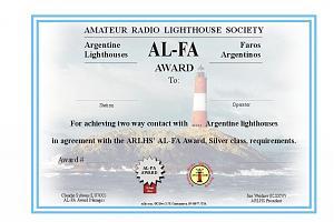 AL-FA AWARD (FAROS ARGENTINE - ARGENTINE LIGHTHOUSES)