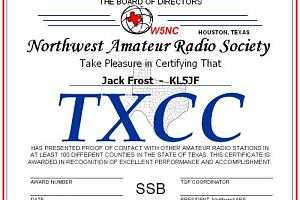 TXCC (TEXAS CENTURY CLUB AWARD)