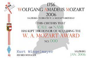 W. A. MOZART AWARD