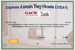 ANTONIO TONY NAVATTA LU5AQ – AWARD