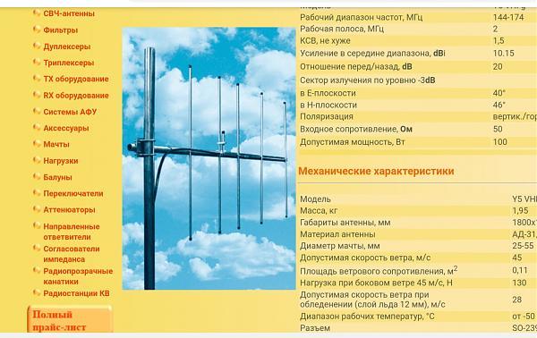 Продам Антена Y5-VHFy на 144мгц (направленная)