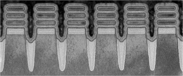 Изображение с помощью сканирующего электронного микроскопа отдельных транзисторов на новом чипе IBM, каждый из которых имеет ширину 2 нанометра - меньше, чем цепочка человеческой ДНК