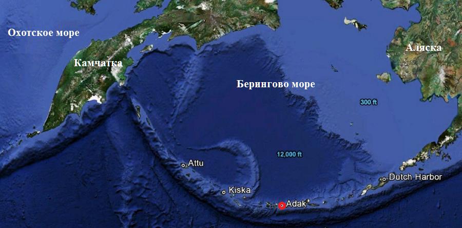 спутник-карта Алеутских островов