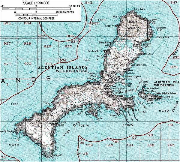 Карта острова Кыска